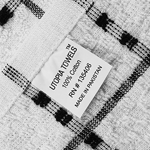 Utopia Towels Kitchen Towels 12 Pack 15 X 25 Inch Cotton Machine Washable Extra Soft Set Of 12 Black White Dobby Weave Dish Towels Tea Towels Bar Towels 0 2