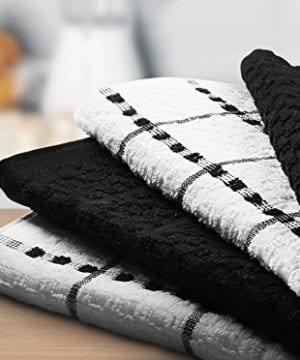 Utopia Towels Kitchen Towels 12 Pack 15 X 25 Inch Cotton Machine Washable Extra Soft Set Of 12 Black White Dobby Weave Dish Towels Tea Towels Bar Towels 0 3 300x360