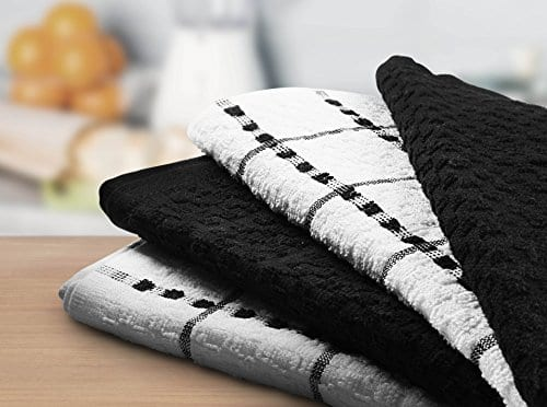 Utopia Towels Kitchen Towels 12 Pack 15 X 25 Inch Cotton Machine Washable Extra Soft Set Of 12 Black White Dobby Weave Dish Towels Tea Towels Bar Towels 0 3