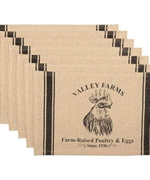 VHC Brands New Valley Farms Rooster Farmhouse Placemat Set Of 6 12x18 0 300x360