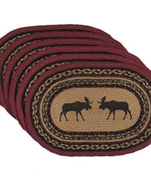 VHC Brands Rustic Lodge Tabletop Kitchen Cumberland Tan Oval Jute Placemat Set Of 6 Brown 0 300x360