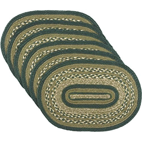 VHC Brands Rustic Lodge Tabletop Kitchen Sherwood Green Jute Placemat Set Of 6 12 X 18 0