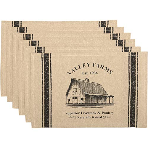 VHC Brands Valley Farms Barn Farmhouse Placemat Set Of 6 12x18 0