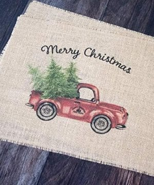 Vintage Red Truck Set Of Two Christmas Burlap Placemats 0 0 300x360