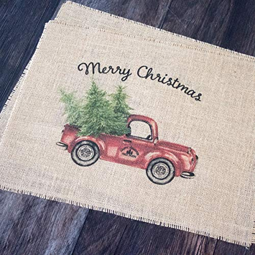 Vintage Red Truck Set Of Two Christmas Burlap Placemats 0 0