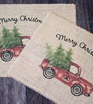 Vintage Red Truck Set Of Two Christmas Burlap Placemats 0 1 300x333