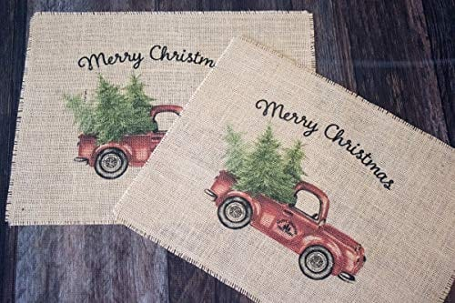 Vintage Red Truck Set Of Two Christmas Burlap Placemats 0 1