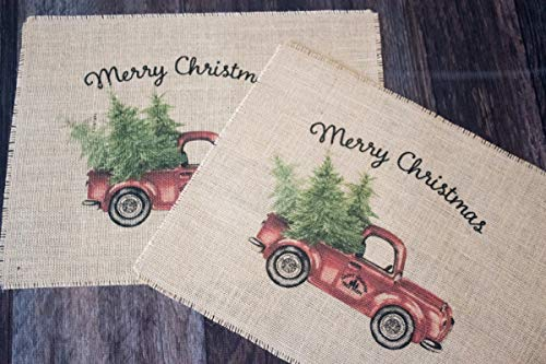 Vintage Red Truck Set Of Two Christmas Burlap Placemats 0