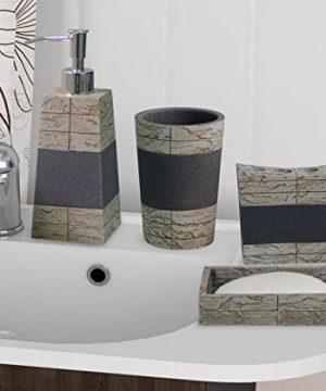 Nu Steel NuSteel 4pc Dish Toothbrush Holder Tumbler Soap Pump Rustic 8pc Set Bath Collection Stone RustGrey 0 300x360