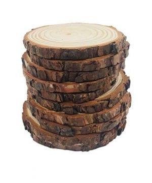 10pcs 39 47 Unfinished Natural Wood Slices With Bark For DIY Crafts Christmas Rustic Wedding Ornaments 0 300x360