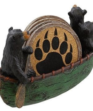 3 Black Bears Canoeing Coaster Set 4 Coasters Rustic Cabin Green Canoe Cub Decor 0 0 300x360