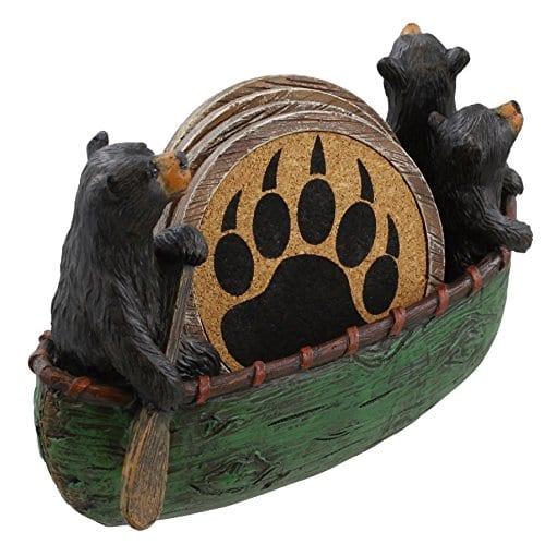 3 Black Bears Canoeing Coaster Set 4 Coasters Rustic Cabin Green Canoe Cub Decor 0 0