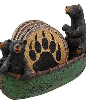 3 Black Bears Canoeing Coaster Set 4 Coasters Rustic Cabin Green Canoe Cub Decor 0 1 300x360