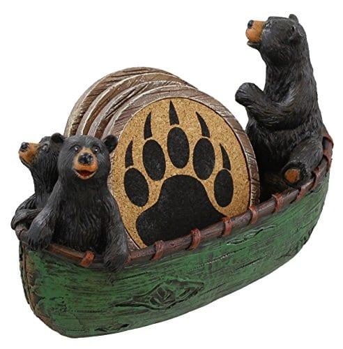 3 Black Bears Canoeing Coaster Set 4 Coasters Rustic Cabin Green Canoe Cub Decor 0 1