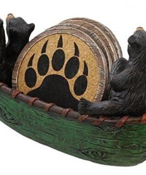 3 Black Bears Canoeing Coaster Set 4 Coasters Rustic Cabin Green Canoe Cub Decor 0 2 300x360