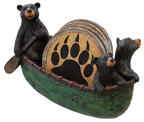 3 Black Bears Canoeing Coaster Set 4 Coasters Rustic Cabin Green Canoe Cub Decor 0