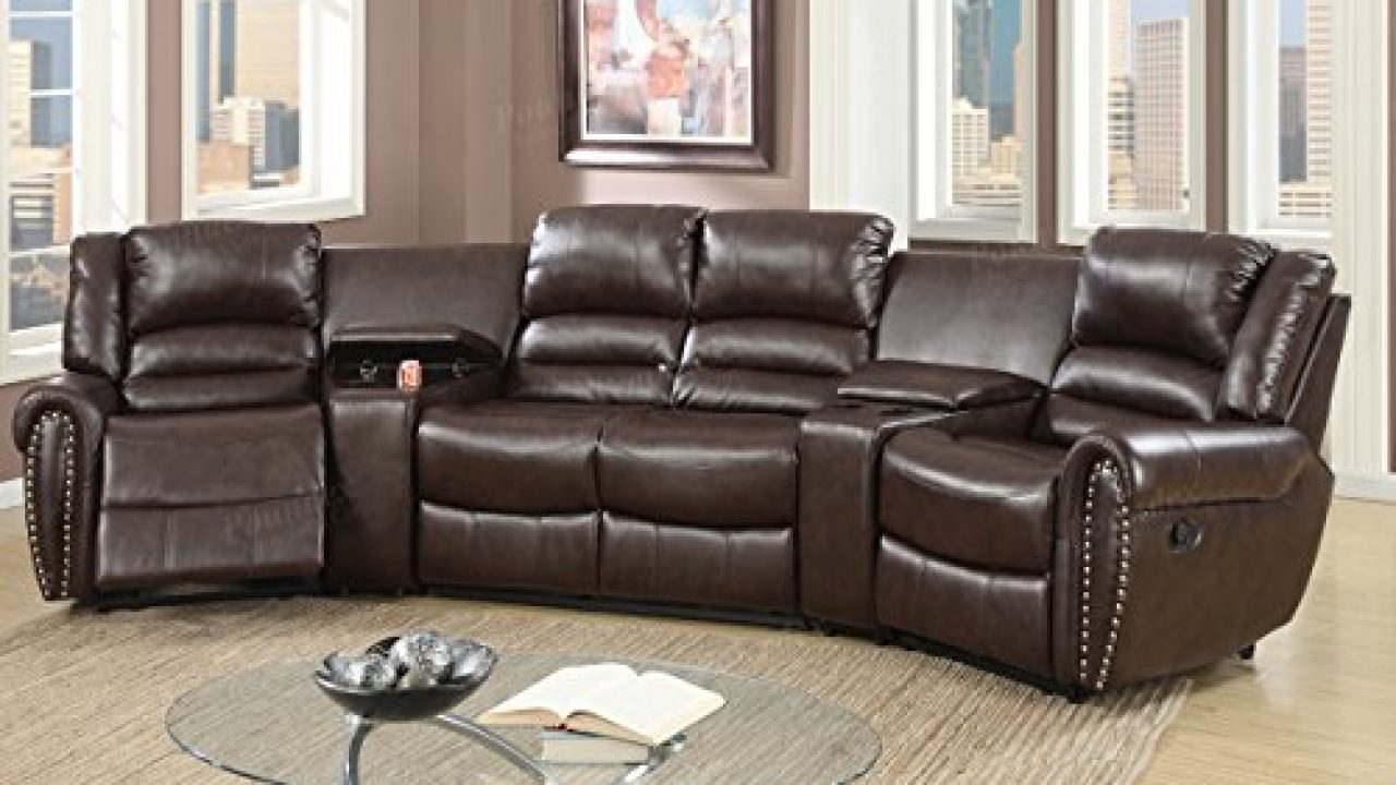5pcs Brown Bonded Leather Reclining