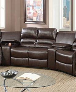 Brown Bonded Leather Reclining Sofa Set with Two Center Consoles