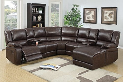 5pcs Brown Bonded Leather Reclining Sofa Set Includes A Push Back Chaise 0