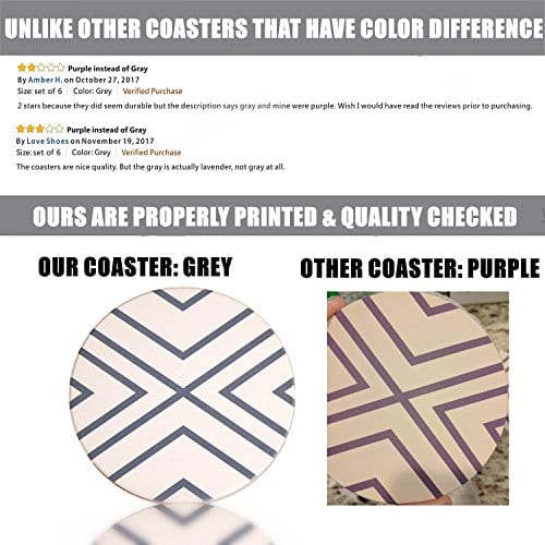 Absorbent Coasters For Drinks Grey Lines On LARGE Ceramic Stone With Cork Backing Drink Spills Thirsty Coaster Set Of 6 No Holder OVERSIZE BETTER Protects Furniture From Damage 0 2