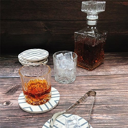 Absorbent Coasters For Drinks Grey Lines On LARGE Ceramic Stone With Cork Backing Drink Spills Thirsty Coaster Set Of 6 No Holder OVERSIZE BETTER Protects Furniture From Damage 0 3