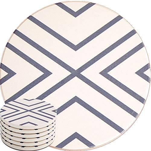 Absorbent Coasters For Drinks Grey Lines On LARGE Ceramic Stone With Cork Backing Drink Spills Thirsty Coaster Set Of 6 No Holder OVERSIZE BETTER Protects Furniture From Damage 0