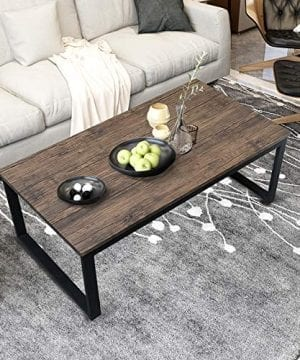 Aingoo Rustic Coffee Table Large Sofa Table Mid Century Rectangle Metal Frame Dark Brown 43 Wooden Grain CT 01 0 300x360
