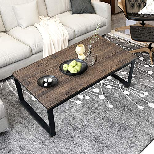 Aingoo Rustic Coffee Table Large Sofa Table Mid-Century Rectangle Metal  Frame Dark Brown 43\