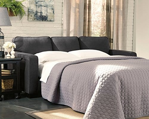 Ashley Furniture Signature Design Alenya Sleeper Sofa With 2 Throw Pillows Queen Size Vintage Casual Charcoal 0 0