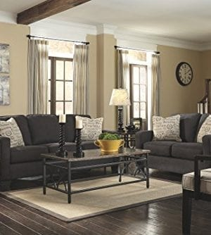 Ashley Furniture Signature Design Alenya Sleeper Sofa With 2 Throw Pillows Queen Size Vintage Casual Charcoal 0 1 300x334
