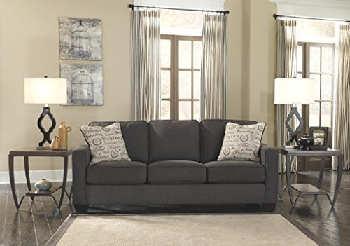 Ashley Furniture Signature Design Alenya Sleeper Sofa With 2 Throw Pillows Queen Size Vintage Casual Charcoal 0 3