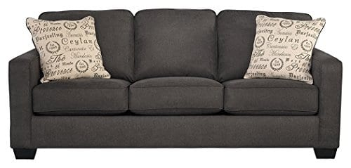 Ashley Furniture Signature Design Alenya Sleeper Sofa With 2 Throw Pillows Queen Size Vintage Casual Charcoal 0