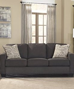 Ashley Furniture Signature Design   Alenya Sofa With 2 Throw Pillows   Vintage  Casual   Charcoal   Farmhouse Goals