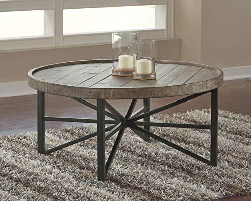 Ashley Furniture Signature Design Cazentine Contemporary Rustic Round Cocktail Table Distressed Top Grayish Brown Black 0 0