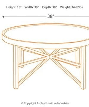Ashley Furniture Signature Design Cazentine Contemporary Rustic Round Cocktail Table Distressed Top Grayish Brown Black 0 1 300x360