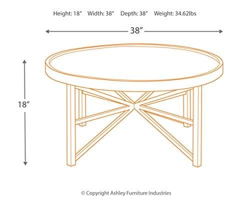 Ashley Furniture Signature Design Cazentine Contemporary Rustic Round Cocktail Table Distressed Top Grayish Brown Black 0 1
