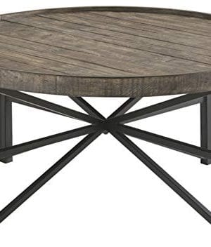 Ashley Furniture Signature Design Cazentine Contemporary Rustic Round Cocktail Table Distressed Top Grayish Brown Black 0 300x352