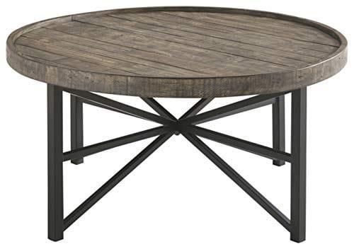 Ashley Furniture Signature Design Cazentine Contemporary Rustic Round Cocktail Table Distressed Top Grayish Brown Black 0