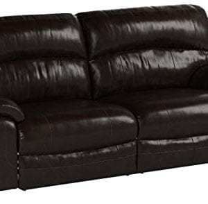 Ashley Furniture Signature Design Damacio Manual Recliner Sofa 1 Pull Reclining Leather Interior Dark Brown 0 300x294