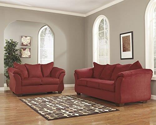 Ashley Furniture Signature Design Darcy Contemporary Microfiber Sofa Salsa 0 1