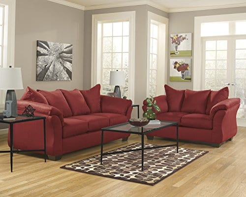 Ashley Furniture Signature Design Darcy Contemporary Microfiber Sofa Salsa 0 2