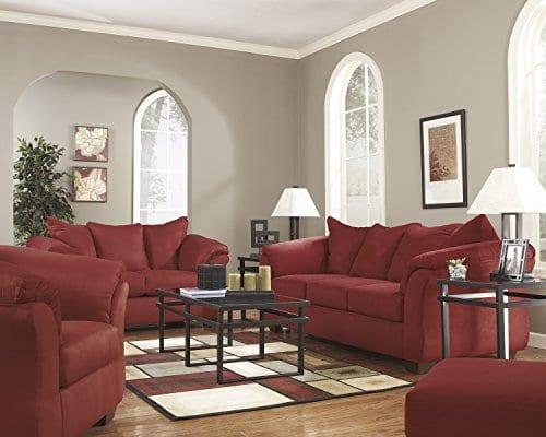 Ashley Furniture Signature Design Darcy Contemporary Microfiber Sofa Salsa 0 3