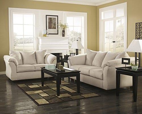 Ashley Furniture Signature Design Darcy Contemporary Microfiber Sofa Stone 0 2