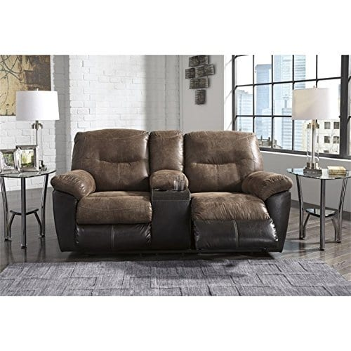Ashley Furniture Signature Design Follett Overstuffed Upholstered Double Reclining Loveseat WConsole Contemporary Coffee 0 0