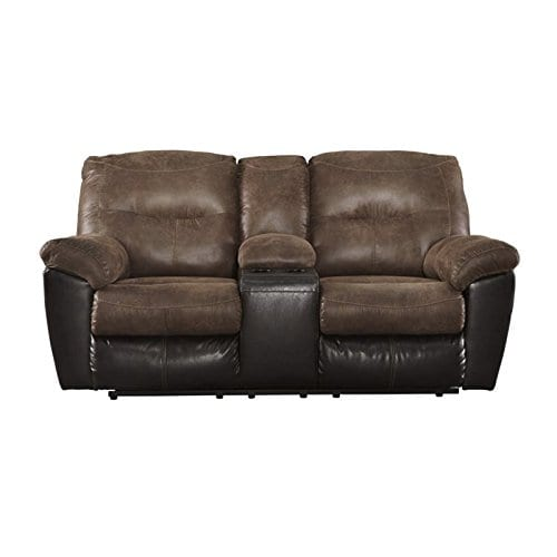 Ashley Furniture Signature Design Follett Overstuffed Upholstered Double Reclining Loveseat WConsole Contemporary Coffee 0
