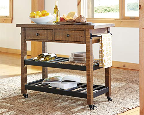 Ashley Furniture Signature Design - Kailman Bar Cart - Gold Finish