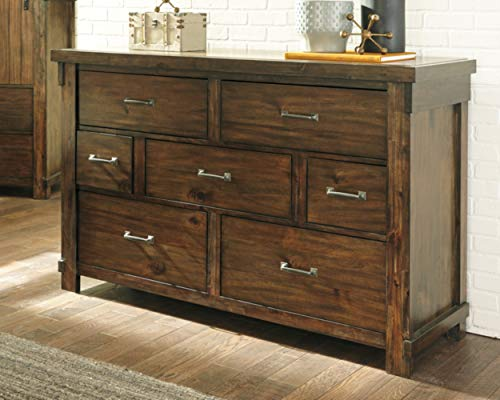 Ashley Furniture Signature Design Lakeleigh Dresser Casual 7 Drawers Rustic Brown Finish Dark Zinc Hardware 0 0