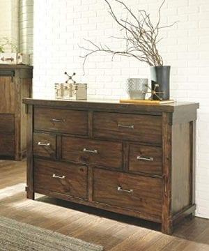 Ashley Furniture Signature Design Lakeleigh Dresser Casual 7 Drawers Rustic Brown Finish Dark Zinc Hardware 0 1 300x360