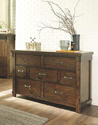 Ashley Furniture Signature Design Lakeleigh Dresser Casual 7 Drawers Rustic Brown Finish Dark Zinc Hardware 0 1