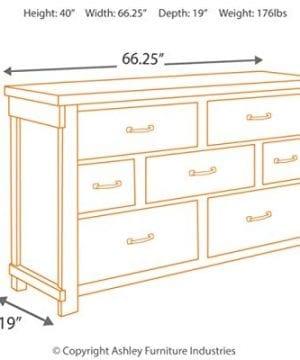 Ashley Furniture Signature Design Lakeleigh Dresser Casual 7 Drawers Rustic Brown Finish Dark Zinc Hardware 0 2 300x360